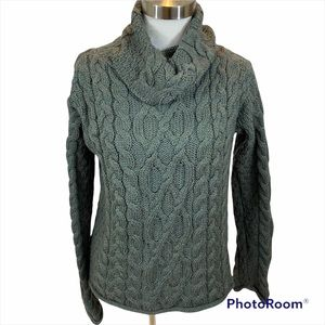 Inis Crafts Merino Wool Knit Sweater Green Medium